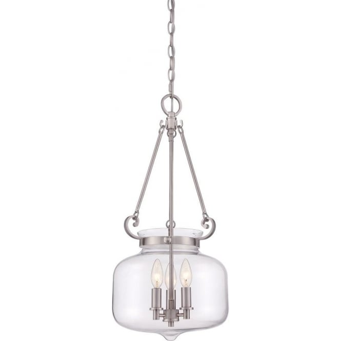 Broadway American Collection STEWART inverted glass bowl pendant light for high ceilings, nickel frame