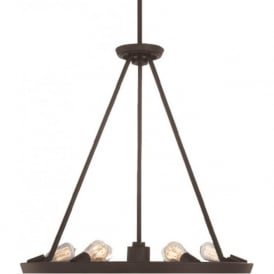 THEATER ROW circular hanging ceiling pendant light - bronze