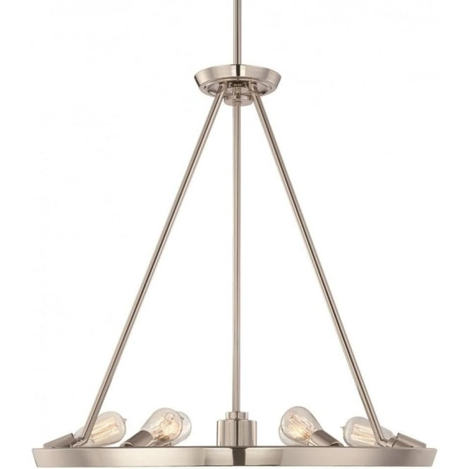 Broadway American Collection THEATER ROW circular hanging ceiling pendant light - silver
