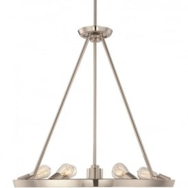 THEATER ROW circular hanging ceiling pendant light - silver