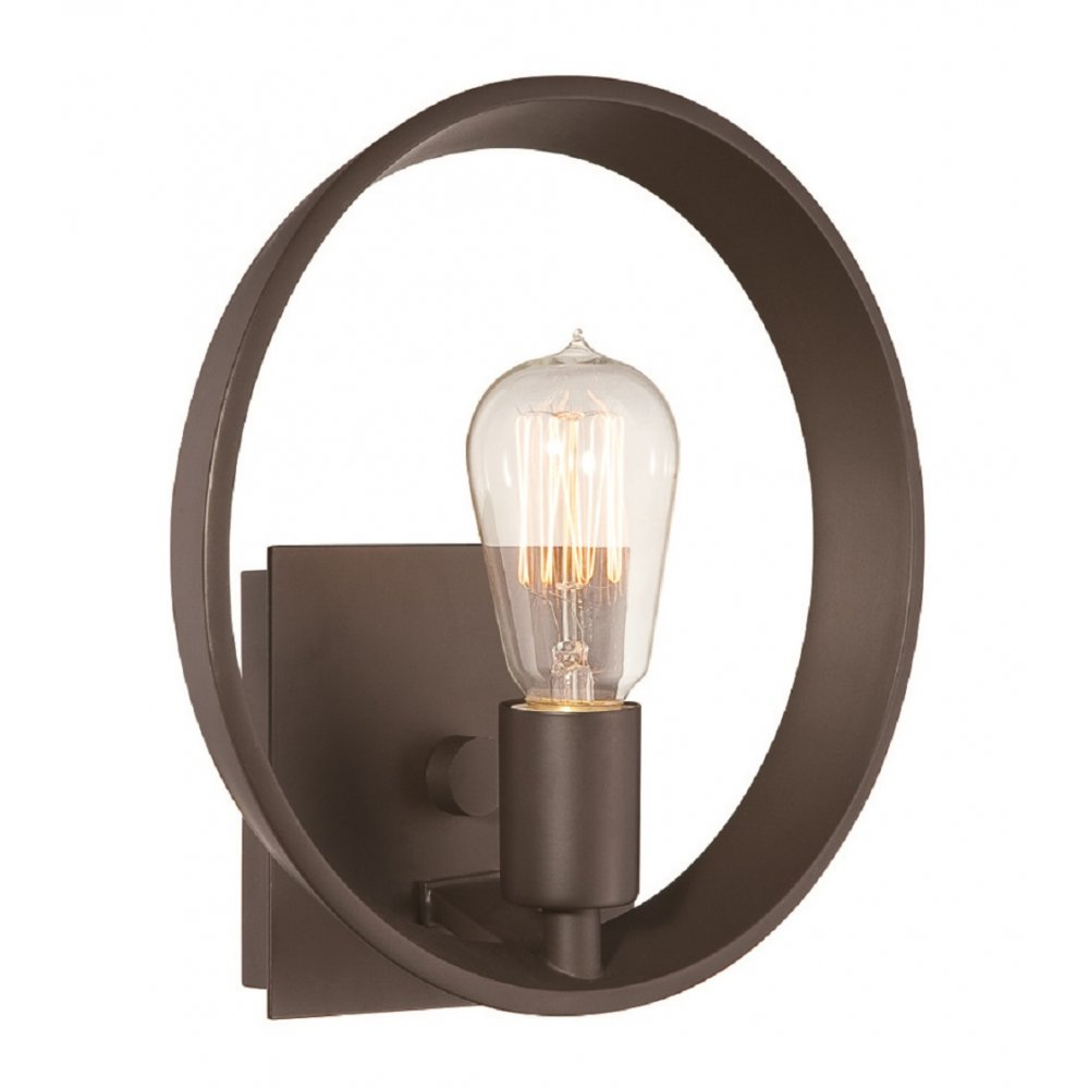 Modern Hoop Wall Light in Bronze Finish with Exposed Filament Bulb