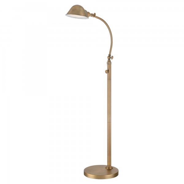 Aged brass reading floor lamp with adjustable head and for Retro floor reading lamp
