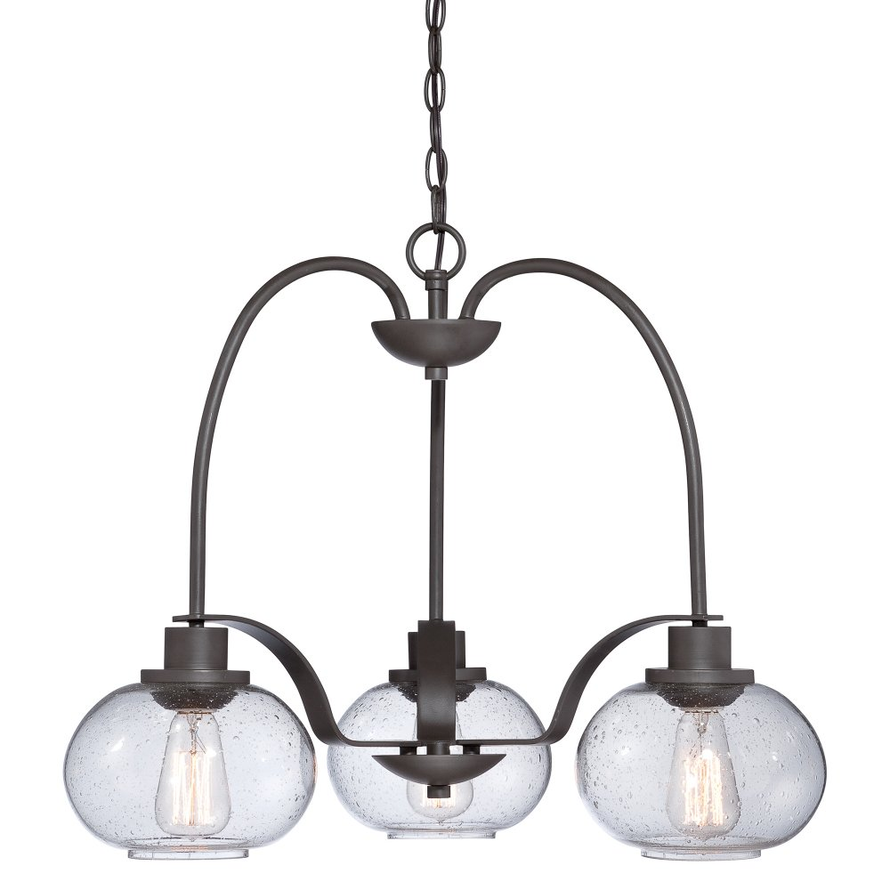 3 Light Hanging Ceiling Pendant Seeded Glass Shades And