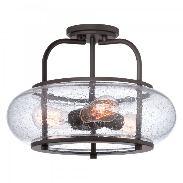 3 Bulb Ceiling Light: Low Ceiling Light With Bronze Frame, Clear Glass Shade And