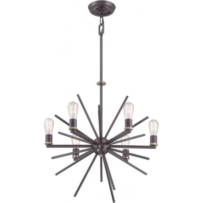Broadway American Collection UPTOWN CARNEGIE contemporary 6 light chandelier in dark bronze