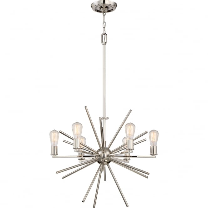 Broadway American Collection UPTOWN CARNEGIE contemporary 6 light chandelier in imperial silver