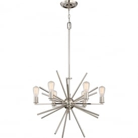 UPTOWN CARNEGIE contemporary 6 light chandelier in imperial silver