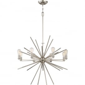 UPTOWN CARNEGIE modern 8 light chandelier in imperial silver