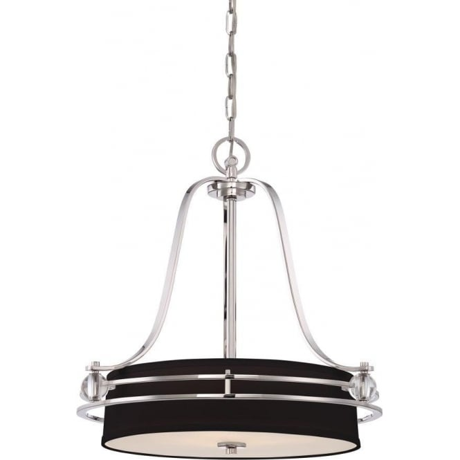 Broadway American Collection UPTOWN GOTHAM black hanging ceiling pendant light on silver frame