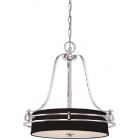 UPTOWN GOTHAM black hanging ceiling pendant light on silver frame