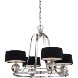 UPTOWN GOTHAM silver 4 light ceiling pendant with black shades