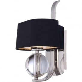 UPTOWN GOTHAM silver wall light with black shade