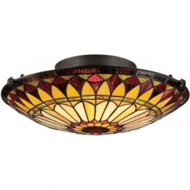 WEST END flush fitting Tiffany glass light for low ceilings