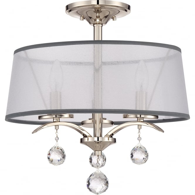 Broadway American Collection WHITNEY Edwardian dual mount pendant or sem-flush ceiling light with white organza shades