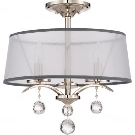 WHITNEY Edwardian dual mount pendant or sem-flush ceiling light with white organza shades