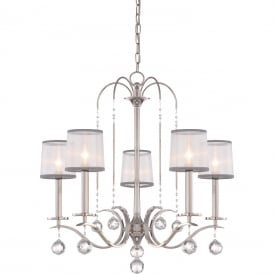 WHITNEY Edwardian imperial silver 5 light chandelier with sheer white organza shades