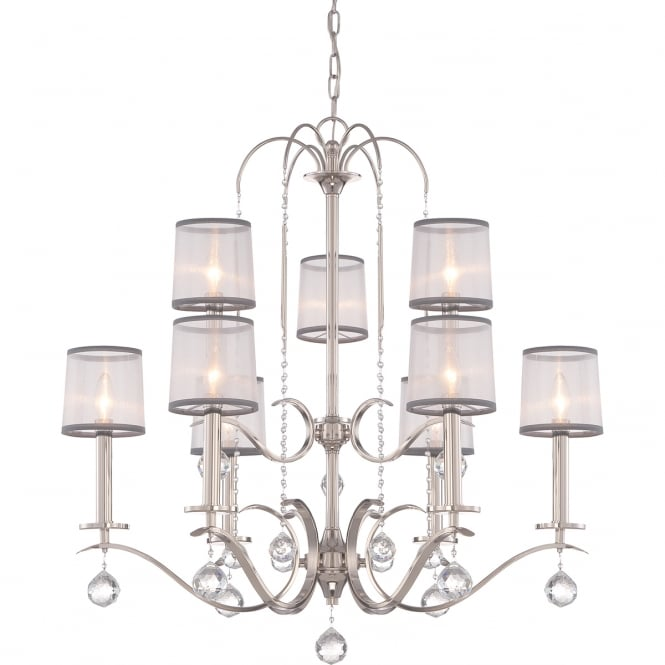 Broadway American Collection WHITNEY Edwardian imperial silver 9 light chandelier with sheer white organza shades