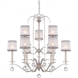 WHITNEY Edwardian imperial silver 9 light chandelier with sheer white organza shades