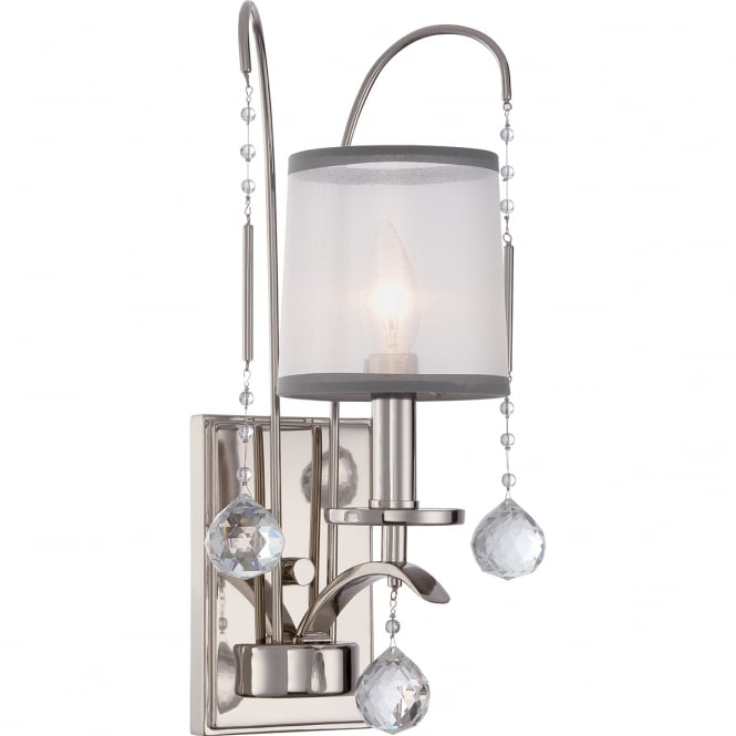 Broadway American Collection WHITNEY Edwardian imperial silver wall light with sheer white organza shade