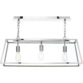 ACADEMY 3 light box pendant with stainless steel frame