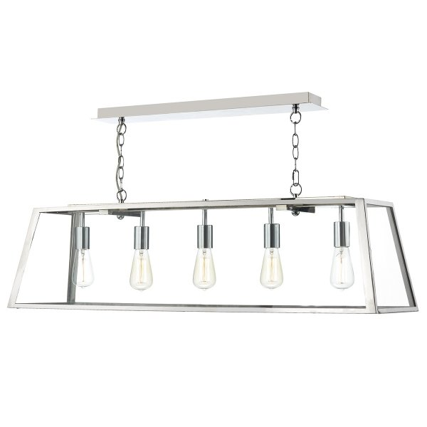 Industrial Box 5 Light Ceiling Pendant In Stainless Steel