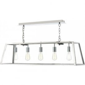 ACADEMY 5 light box pendant with stainless steel frame