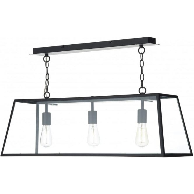 Hanging pendant suspension light for over tables or kitchen islands academy long 3 light hanging ceiling pendant light in black aloadofball Gallery