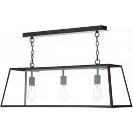 ACADEMY long 3 light hanging ceiling pendant light in black