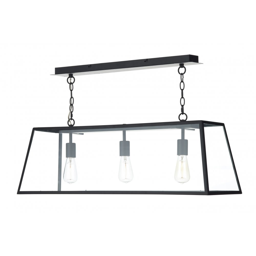 Hanging Pendant Suspension Light for Over Tables or  : cambridge lighting academy long 3 light hanging ceiling pendant light in black p1061 2056zoom from www.bespokelights.co.uk size 1000 x 1000 jpeg 45kB