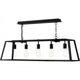 ACADEMY long 5 light hanging ceiling pendant light in black