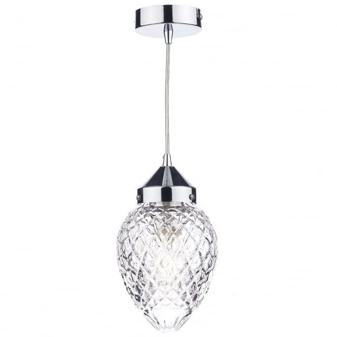 Cambridge Lighting AGATHA small polished chrome pendant light with cut glass shade