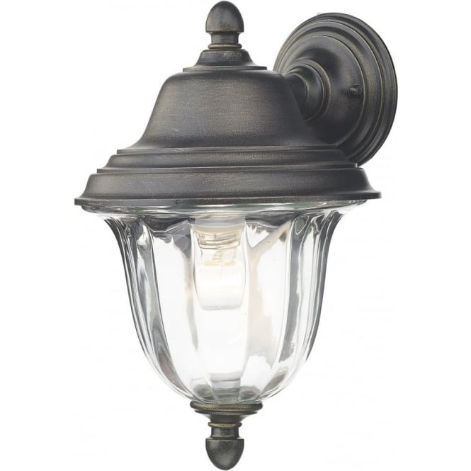 Traditional Outdoor Garden Wall Lantern In Black Gold Finish