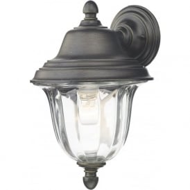 ALDGATE traditional outdoor wall light in black with gold highlights