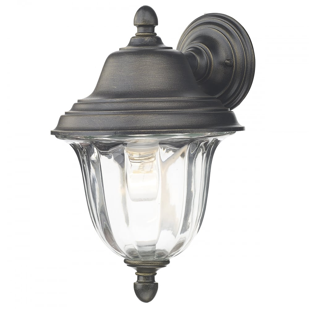 Outdoor Wall Lights Types: Traditional Outdoor Garden Wall Lantern In Black Gold Finish