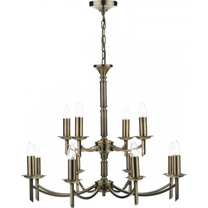 Cambridge Lighting AMBASSADOR large traditional 12 light antique brass chandelier