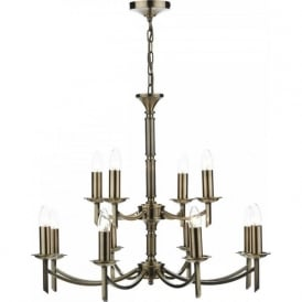 AMBASSADOR large traditional 12 light antique brass chandelier