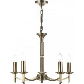 AMBASSADOR traditional 5 light antique brass chandelier