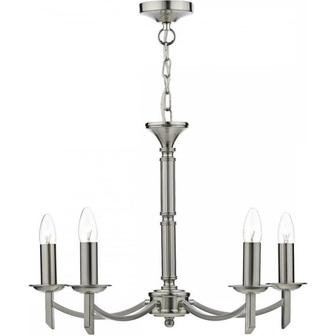 Cambridge Lighting AMBASSADOR traditional 5 light satin chrome chandelier