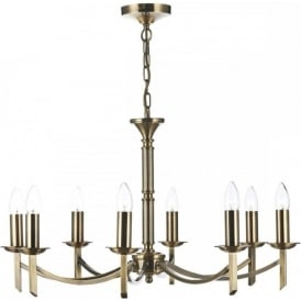 AMBASSADOR traditional 8 light antique brass chandelier