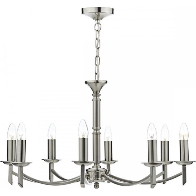 Classic 8 arm georgian or regency chandelier with dual mount fitting ambassador traditional 8 light satin chrome chandelier mozeypictures Choice Image