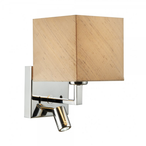 Contemporary Bedroom Wall Lights: Chrome Over Bed Wall Light With LED Book Light And Taupe