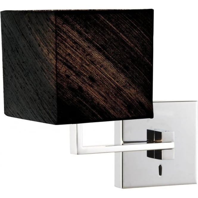 Swing Arm Bedroom Wall Light in Chrome with Black Silk Shade, Switched