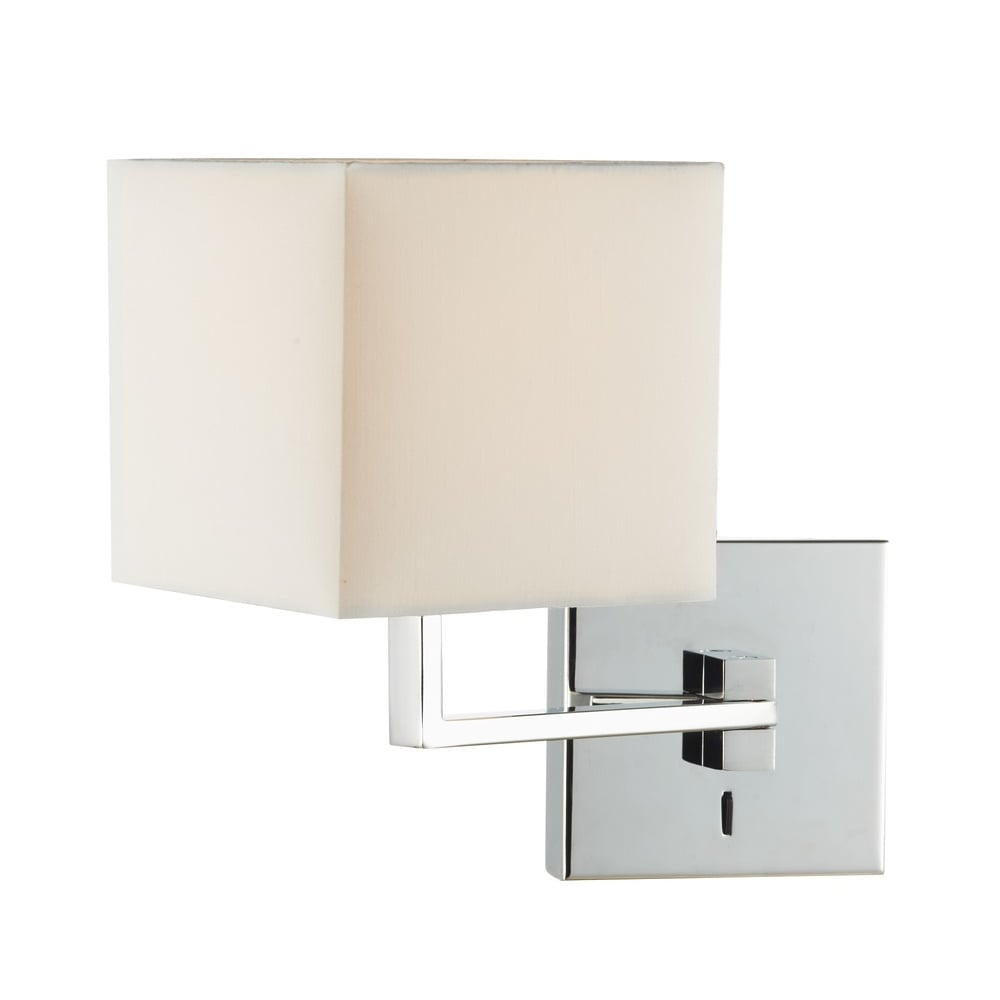 Over Bed Swing Arm Wall Light in Chrome with Ivory Cotton Shade