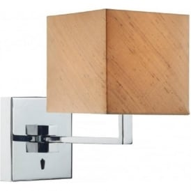 ANVIL modern chrome over bed swing arm wall light with taupe silk shade
