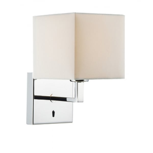 Modern Chrome Over Bed Wall Light with Ivory Cotton Shade, Switched