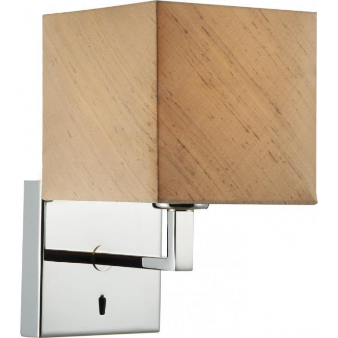 Cambridge Lighting ANVIL modern chrome over bed wall light with taupe silk shade