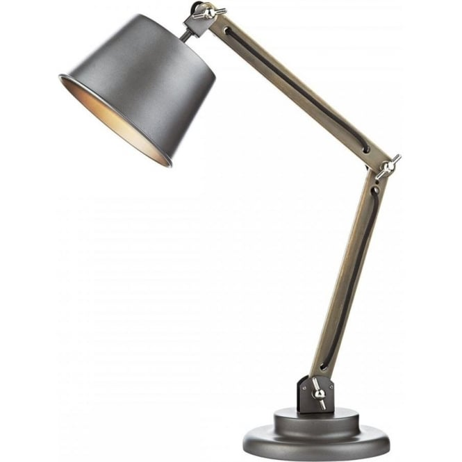 Retro style desk lamp with wooden frame matt grey base and shade arken adjustable and angled desk lamp in vintage retro design aloadofball Choice Image