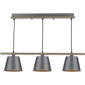 Cambridge Lighting ARKEN vintage style bar pendant ceiling light with grey metal shades