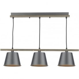 ARKEN vintage style bar pendant ceiling light with grey metal shades