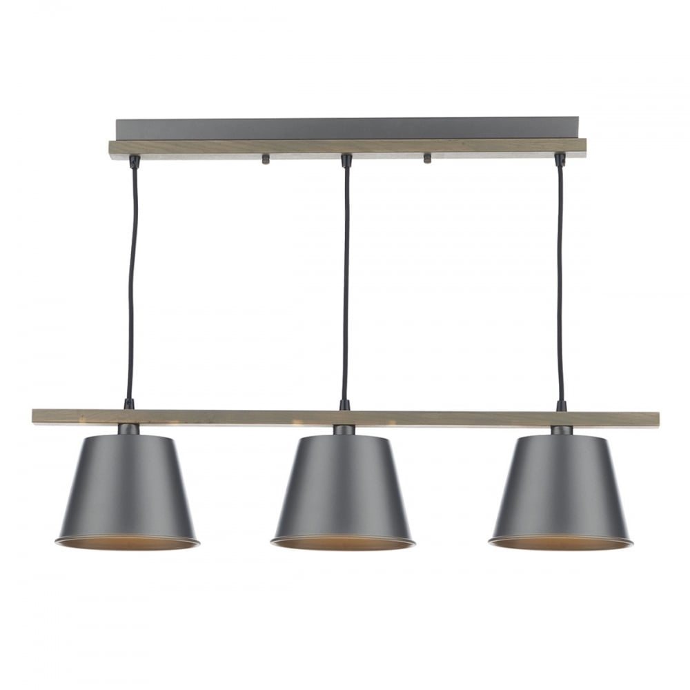 Ceiling Light Bar: Bar Pendant Ceiling Light In Natural Wood With Grey Metal